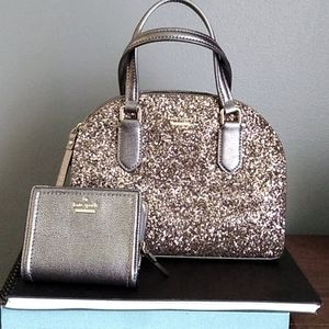 Small Dome glitter satchel and wallet